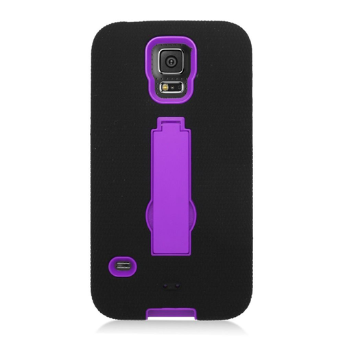 Insten Symbiosis Hard Hybrid Silicone Case w/stand For Samsung Galaxy S5, Black/Purple