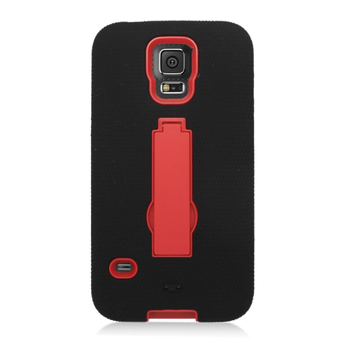 Insten Symbiosis Hard Dual Layer Silicone Cover Case w/stand For Samsung Galaxy S5, Black/Red