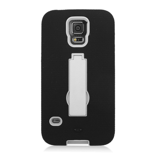 Insten Symbiosis Hard Dual Layer Silicone Case w/stand For Samsung Galaxy S5, Black/White