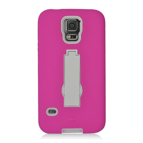 Insten Hard Hybrid Rubber Coated Silicone Case w/stand For Samsung Galaxy S5, Hot Pink/White