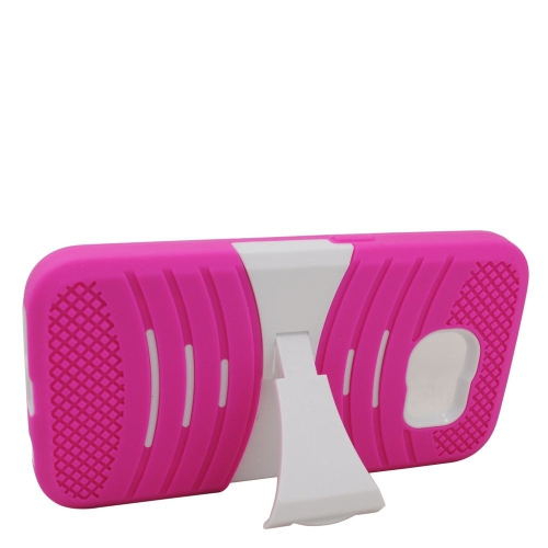 Insten Wave Symbiosis Soft Hybrid Rubber Hard Case w/stand For Samsung Galaxy S6, Hot Pink/White