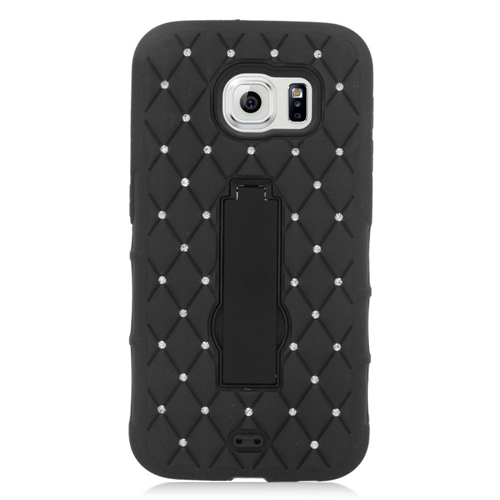 Insten Hard Hybrid Rubber Coated Silicone Case w/stand/Diamond For Samsung Galaxy S6, Black