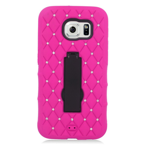 Insten Symbiosis HardRubber Silicone Case w/stand/Diamond For Samsung Galaxy S6, Hot Pink/Black