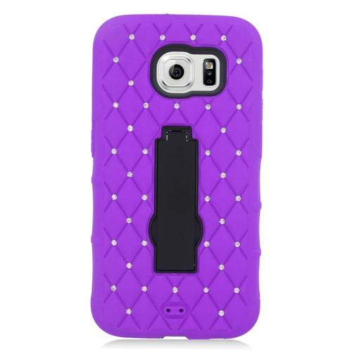 Insten Symbiosis HardRubberized Silicone Case w/stand/Diamond For Samsung Galaxy S6, Purple/Black