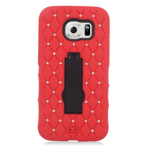 Insten Symbiosis HardRubber Silicone Case w/stand/Diamond For Samsung Galaxy S6, Red/Black