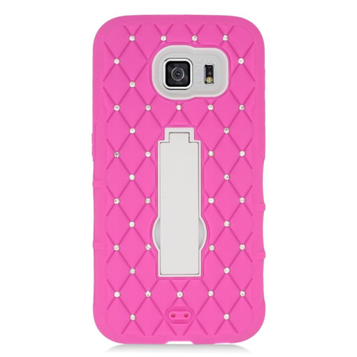 Insten Symbiosis Hard Hybrid Silicone Case w/stand/Diamond For Samsung Galaxy S6, Hot Pink/White