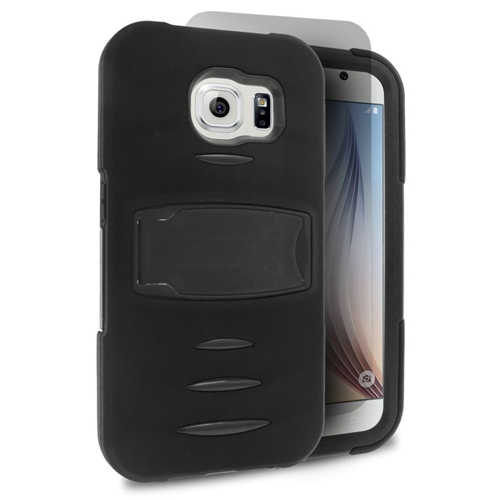 Insten Silicone Dual Layer Rubber Hard Cover Case w/stand/Installed For Samsung Galaxy S6, Black