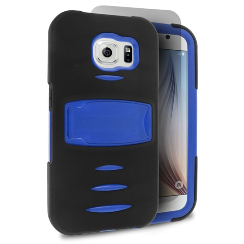 Insten Gel Hybrid Rubber Hard Cover Case w/stand/Installed For Samsung Galaxy S6, Black/Blue
