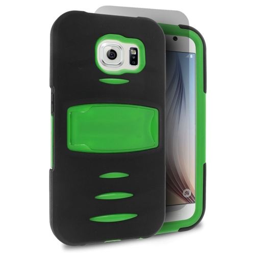 Insten Silicone Hybrid Rubber Hard Cover Case w/stand/Installed For Samsung Galaxy S6, Black/Green
