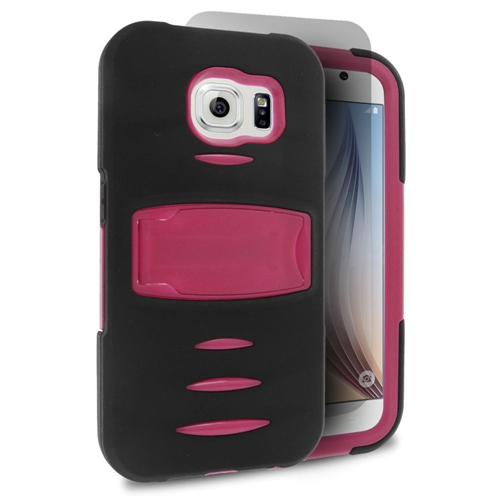 Insten Gel Hybrid Rubber Hard Cover Case w/stand/Installed For Samsung Galaxy S6, Black/Hot Pink