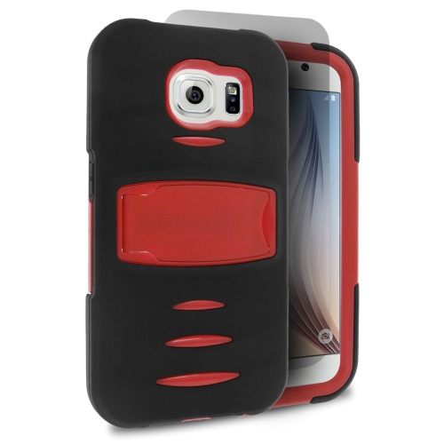 Insten Skin Hybrid Rubber Hard Cover Case w/stand/Installed For Samsung Galaxy S6, Black/Red