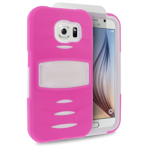 Insten Skin Dual Layer Rubber Hard Case w/stand/Installed For Samsung Galaxy S6, Hot Pink/White