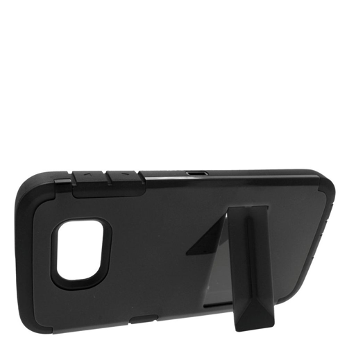 Insten Hard Dual Layer Rubber Coated Silicone Cover Case w/stand For Samsung Galaxy S6, Black