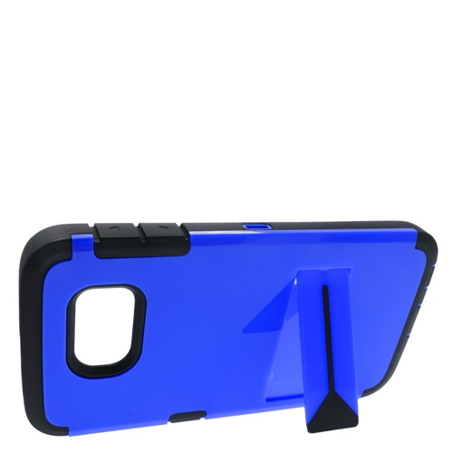 Insten Hard Hybrid Rubber Silicone Case w/stand For Samsung Galaxy S6, Blue/Black