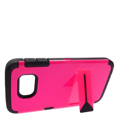 Insten Hard Dual Layer Rubberized Silicone Cover Case w/stand For Samsung Galaxy S6, Hot Pink/Black