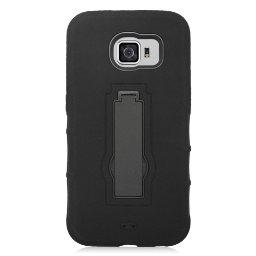 Insten Symbiosis Hard Dual Layer Rubber Silicone Case w/stand For Samsung Galaxy S6, Black