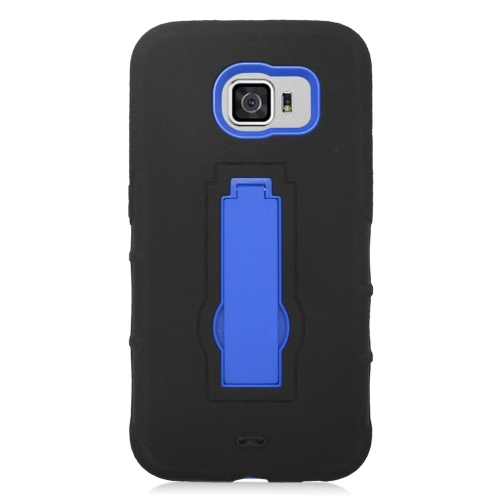 Insten Symbiosis Hard Hybrid Silicone Cover Case w/stand For Samsung Galaxy S6, Black/Blue