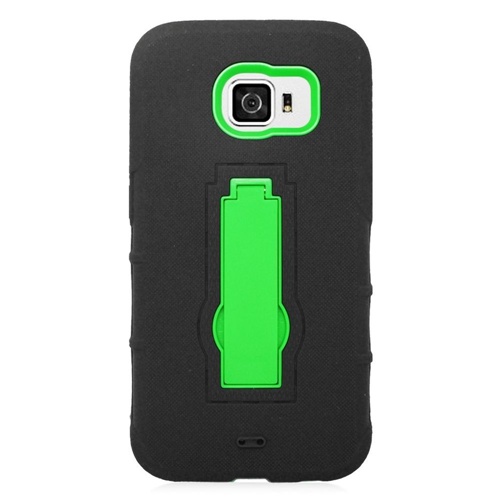 Insten Symbiosis HardRubber Coated Silicone Case w/stand For Samsung Galaxy S6, Black/Green