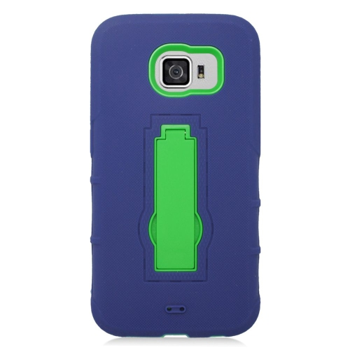 Insten Symbiosis Hard Dual Layer Rubber Silicone Case w/stand For Samsung Galaxy S6, Blue/Green