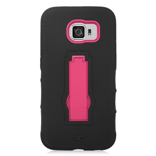 Insten Symbiosis Hard Dual Layer Silicone Case w/stand For Samsung Galaxy S6, Black/Hot Pink