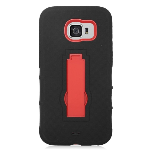 Insten Symbiosis Hard Hybrid Rubber Coated Silicone Case w/stand For Samsung Galaxy S6, Black/Red