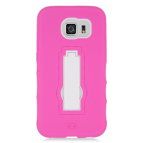 Insten Symbiosis HardRubber Coated Silicone Case w/stand For Samsung Galaxy S6, Hot Pink/White