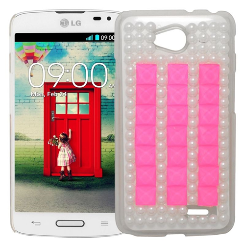 Insten Rhinestone Diamond Bling Hard Snap-in Case For LG Optimus L70 MS323/Realm LS620, Pink/White