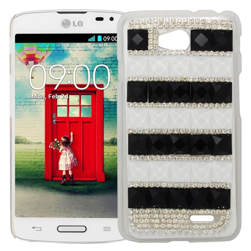 Insten Rhinestone Diamond Bling Hard Snap-in Case For LG Optimus L70 MS323/Realm LS620, Silver/Black