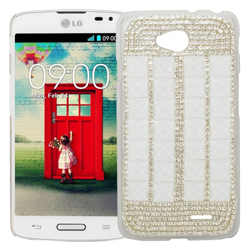Insten Rhinestone Diamond Bling Hard Snap-in Case For LG Optimus L70 MS323/Realm LS620, Silver/White