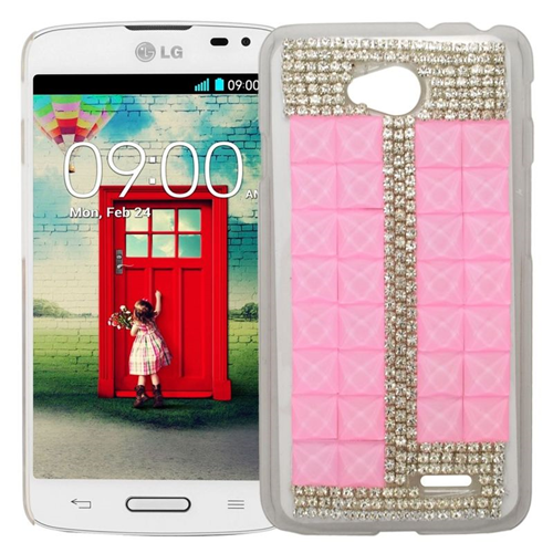 Insten Rhinestone Diamond Bling Hard Snap-in Case For LG Optimus L70 MS323/Realm LS620, Pink/Silver