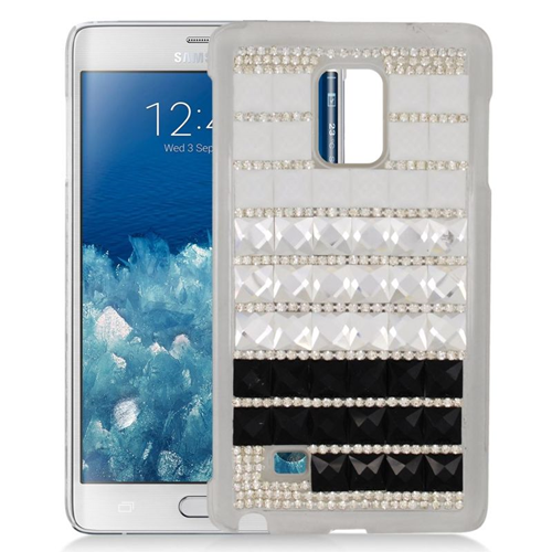 Insten Checker Rhinestone Diamond Bling Hard Snap-in Case For Samsung Galaxy Note Edge, Black/White