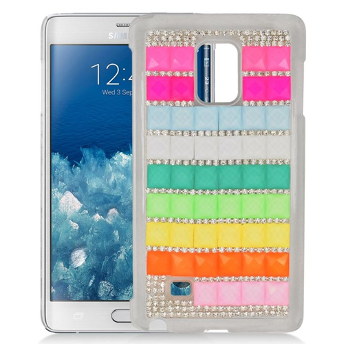 Insten Checker Rhinestone Diamond Hard Snap-in Case For Samsung Galaxy Note Edge, Colorful/White