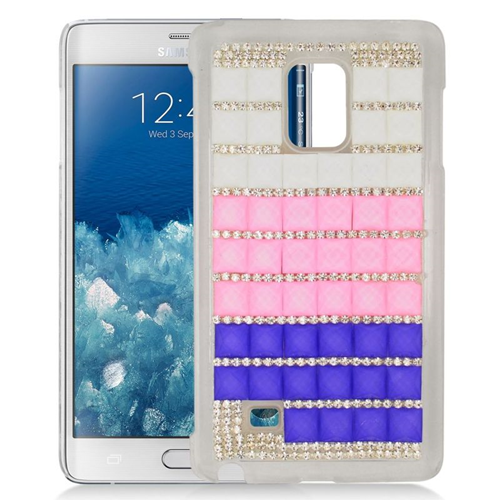 Insten Checker Rhinestone Diamond Bling Hard Snap-in Case For Samsung Galaxy Note Edge, Pink/Purple
