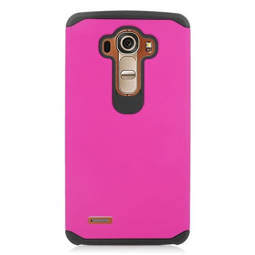 Insten Hybrid Rubberized Hard PC/Silicone Case For LG G4, Hot Pink/Black