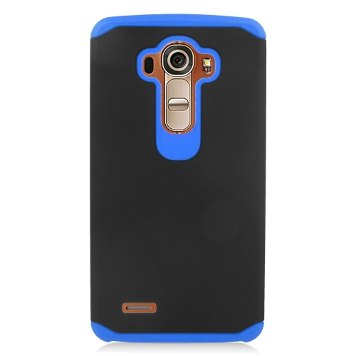 Insten Dual Layer Hybrid Rubberized Hard PC/Silicone Case Cover Compatible With LG G4, Black/Blue