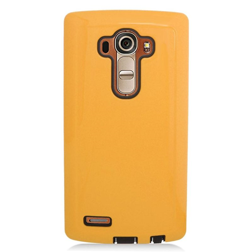Insten Dual Layer Hybrid Rubberized Hard PC/Silicone Case Cover Compatible With LG G4, Gold