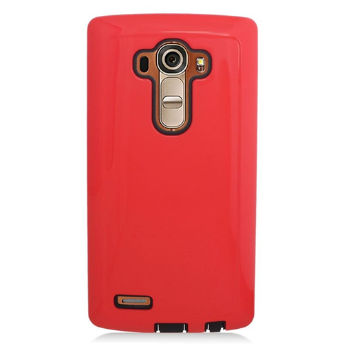 Insten Dual Layer Hybrid Rubberized Hard PC/Silicone Case Cover Compatible With LG G4, Red/Black