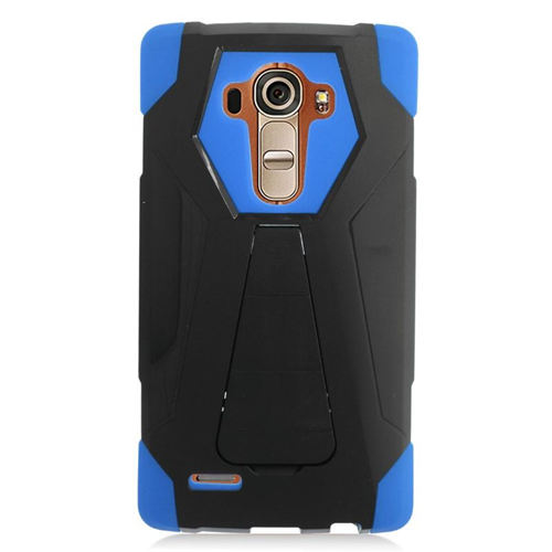 Insten Dual Layer Hybrid Stand PC/Silicone Case Cover Compatible With LG G4, Black/Blue