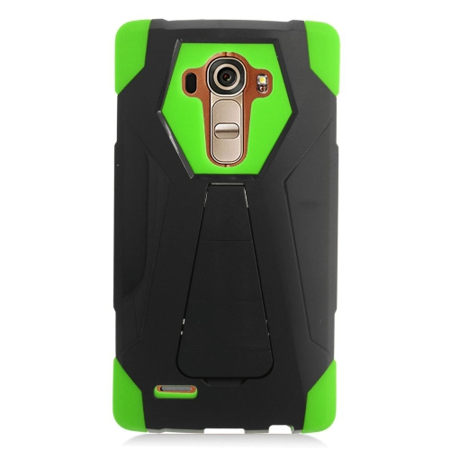 Insten Dual Layer Hybrid Stand PC/Silicone Case Cover Compatible With LG G4, Black/Green