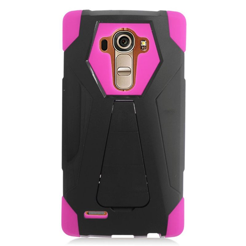 Insten Fitted Soft Shell Case for LG G4 - Hot Pink;Black