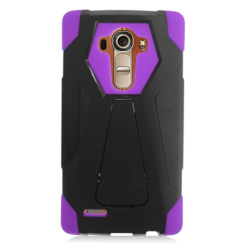 Insten Dual Layer Hybrid Stand PC/Silicone Case Cover Compatible With LG G4, Black/Purple