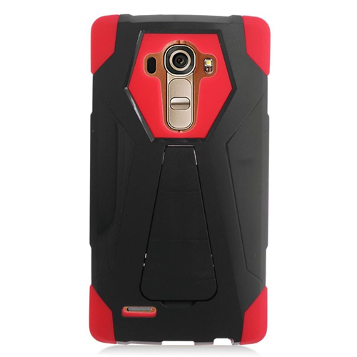 Insten Dual Layer Hybrid Stand PC/Silicone Case Cover Compatible With LG G4, Black/Red