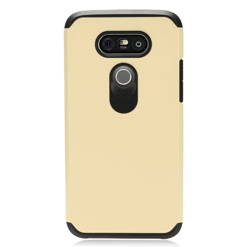 Insten Dual Layer Hybrid Rubberized Hard PC/Silicone Case Cover Compatible With LG G5, Gold/Black