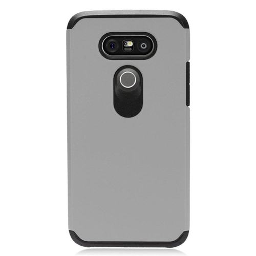 Insten Dual Layer Hybrid Rubberized Hard PC/Silicone Case Cover Compatible With LG G5, Gray/Black