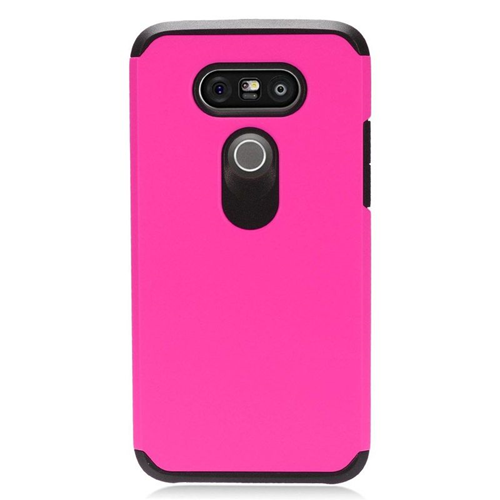 Insten Hybrid Rubberized Hard PC/Silicone Case For LG G5, Hot Pink/Black