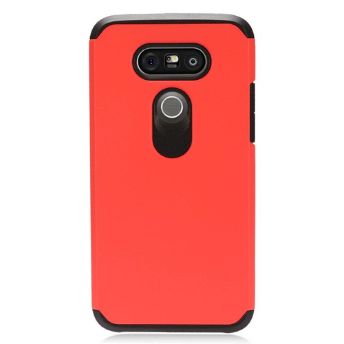 Insten Dual Layer Hybrid Rubberized Hard PC/Silicone Case Cover Compatible With LG G5, Red/Black