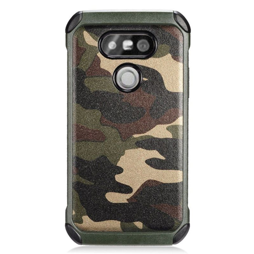 Insten Camouflage Hybrid Rubberized Hard PC/Silicone Case For LG G5, Green/Black