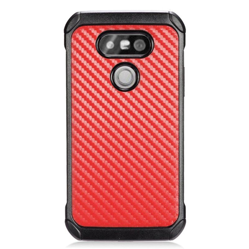 Insten Carbon Fiber Hybrid Rubberized Hard PC/Silicone Case For LG G5, Red/Black
