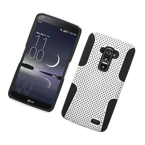 Insten Astronoot Dual Layer Hybrid PC/TPU Rubber Case Cover Compatible With LG G Flex, White/Black