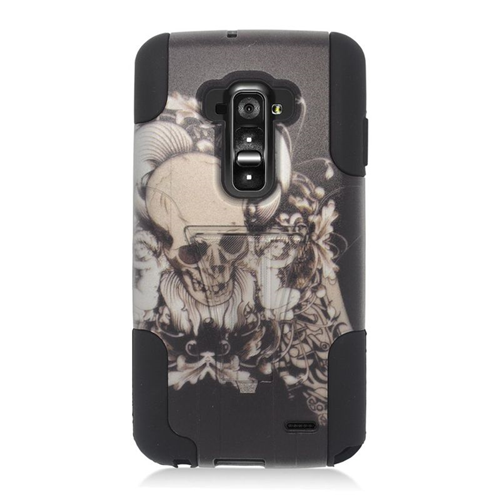 Insten Skull with Angel Hybrid Stand PC/Silicone Case For LG G Flex, Black/White